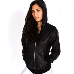 American Apparel Black Faux Leather Hoodie Jacket